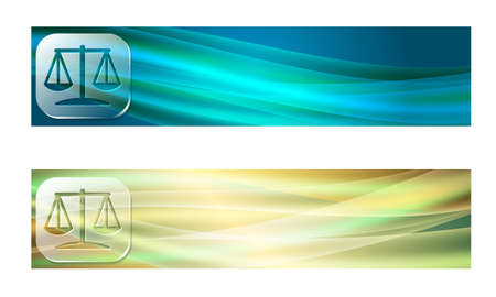 jury box: Set of two banners with waves and transparent justice symbol