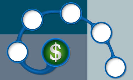 text boxes: Blue circular text boxes for your text and dollar symbol