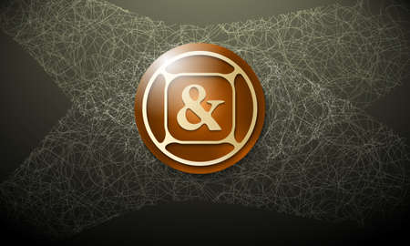 ampersand: Brown background with abstract cobweb and ampersand