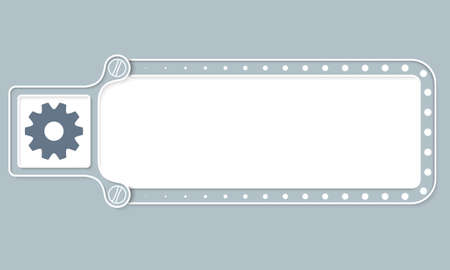 sprockets: Gray box with white frame for your text and cogwheels Illustration