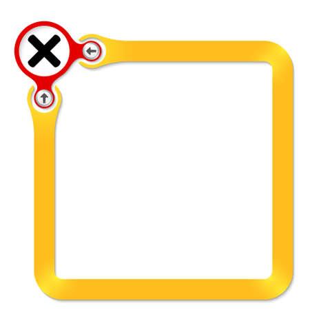 multiplicaci�n: C�rculo rojo con el s�mbolo de la multiplicaci�n y marco amarillo para el texto