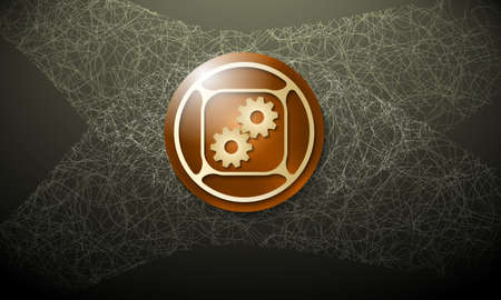 cobweb: Brown background with abstract cobweb and cogwheels