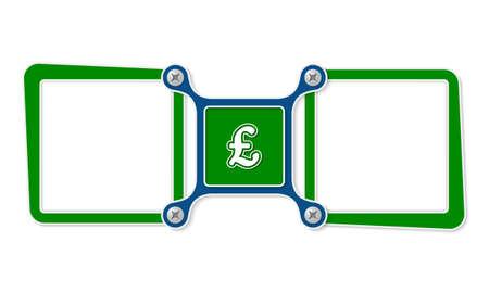 pound sterling: Dos cuadros de texto en blanco para su texto y símbolo de la libra esterlina