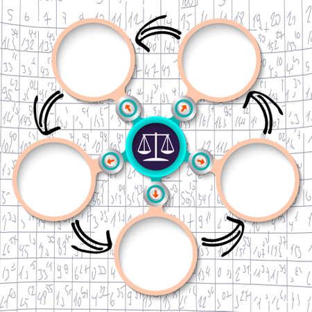 jury box: Five abstract circular text boxes and lawyer symbol