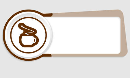 intermission: Vector abstract button for your text and cup of coffee