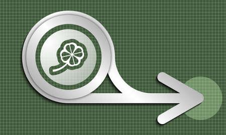 cloverleaf: Silver abstract arrow and cloverleaf