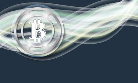 bit background: Vector abstract background with waves and bit coin symbol