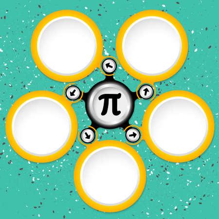 pi: Five colored circular text boxes and pi symbol Illustration