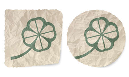crumpled: Crumpled slip of paper and a cloverleaf Illustration