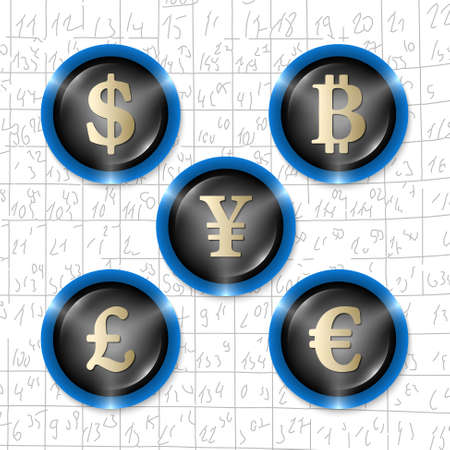 currencies: Set of five icons with symbols of currencies Illustration