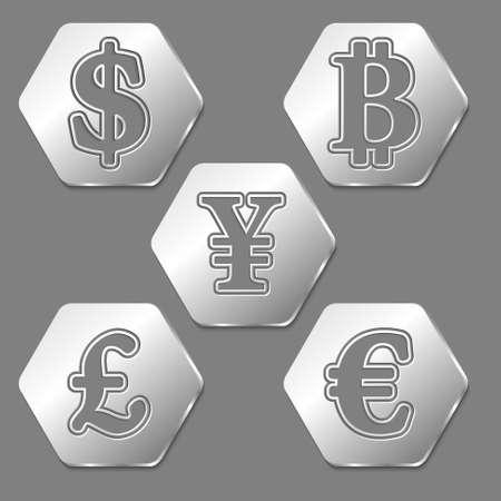 currencies: Set of five hexagons with symbols of currencies Illustration