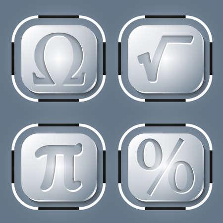 simbolos matematicos: Conjunto de cuatro icono y s�mbolos matem�ticos