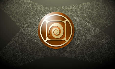 cobweb: Dark background with abstract cobweb and spiral Illustration