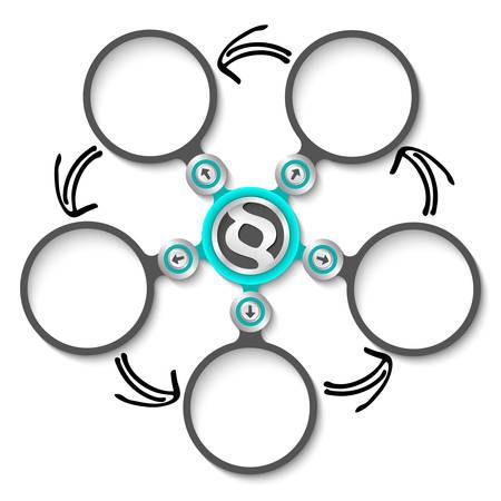 jury box: Five abstract circular text boxes and paragraph symbol Illustration
