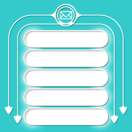 circular arrows: Five frames for your text and circular arrows and envelope