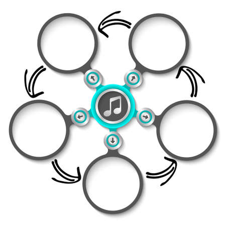 text boxes: Five abstract circular text boxes and music icon Illustration