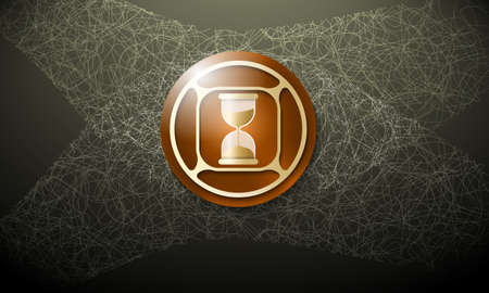 sand glass: Dark background with abstract cobweb and sand glass