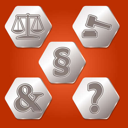 jury box: Set of five hexagons with different symbols