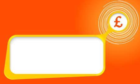 pound sterling: cuadro de texto del vector para el texto con espirales y símbolo de la libra esterlina