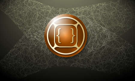 cobweb: Dark background with abstract cobweb and square brackets Illustration