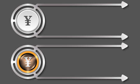 fill in: Silver abstract boxes for your text and yen icon Illustration