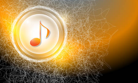 cobweb: Vector abstract background with cobweb and music icon