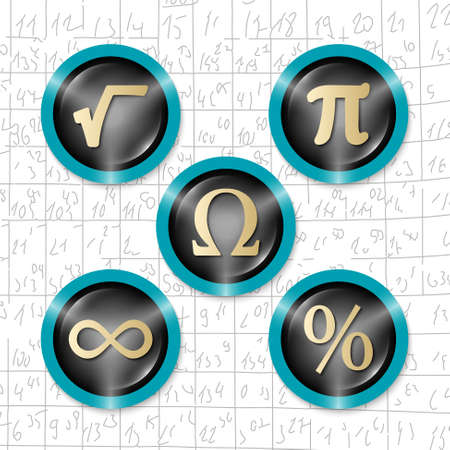 square root: Set of five icons with symbols of math