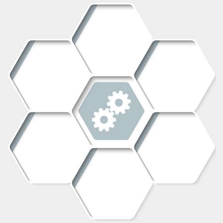 Set of five hexagons for your text and a cogwheels Illustration
