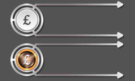 libra esterlina: cajas de plata abstractos para el icono de texto y la libra esterlina