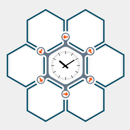 fill in: Abstract hexagons for your text and watches Illustration