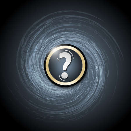 spire: Dark background with abstract spirals and question mark