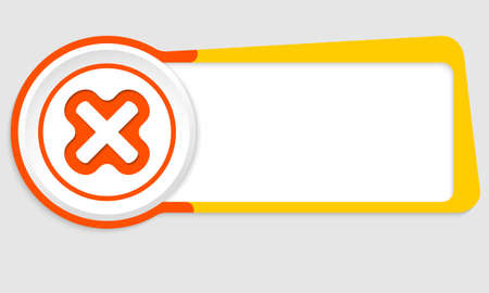 multiplication: Vector abstract button for your text and multiplication symbol Illustration