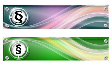 jury box: Set of two banners with colored rainbow and paragraph Illustration