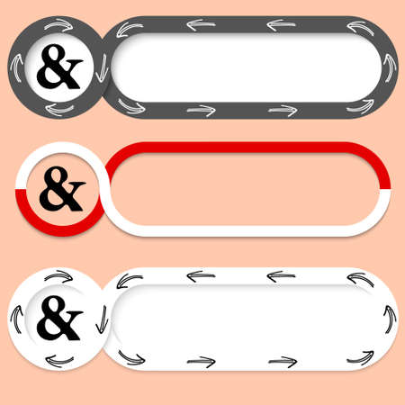 inscribe: Set of three abstract buttons for your text and ampersand Illustration