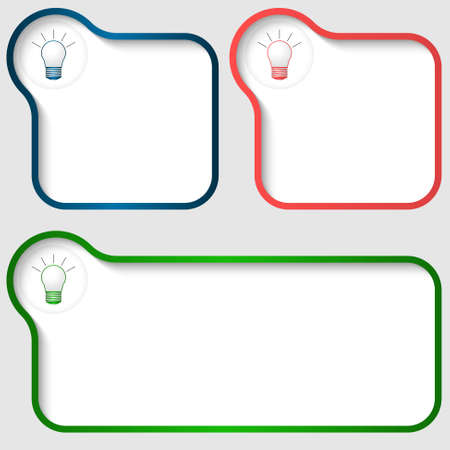 text frame: Set of three vector text frame with bulb icon