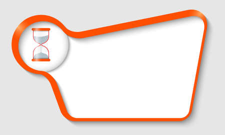 sand glass: Orange text box for your text and sand glass Illustration