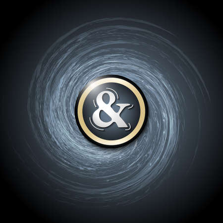 ampersand: Dark background with abstract spirals and ampersand