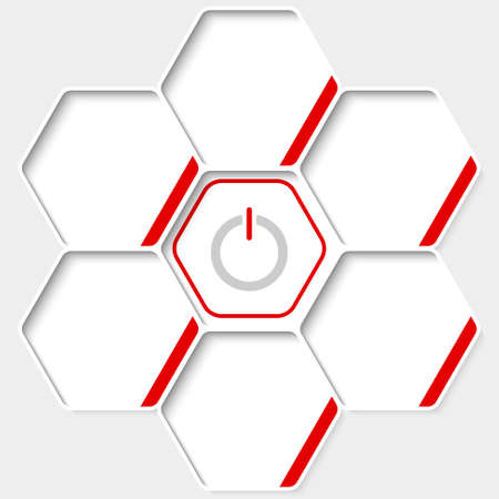 inscribe: Set of five hexagons for your text and a power button