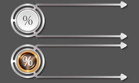 share prices: Silver abstract boxes for your text and percent icon