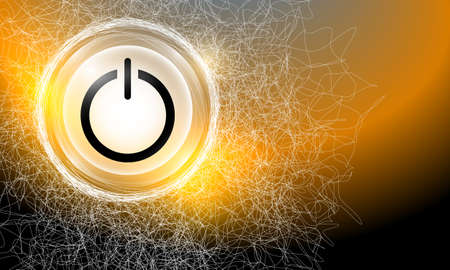 power button: Vector abstract background with cobweb and power button