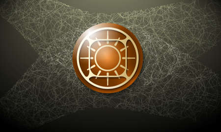 cobweb: Dark background with abstract cobweb and energy icon Illustration