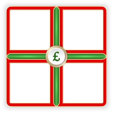 libra esterlina: Vector marcos rojos para su símbolo de texto y la libra esterlina Vectores