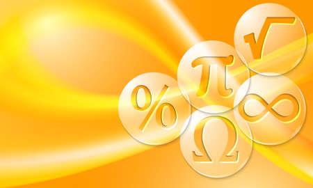 simbolos matematicos: Vector de fondo con el arco iris abstracto y símbolos matemáticos transparentes