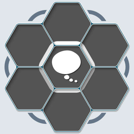 text bubble: Set of seven hexagons for your text and speech bubble