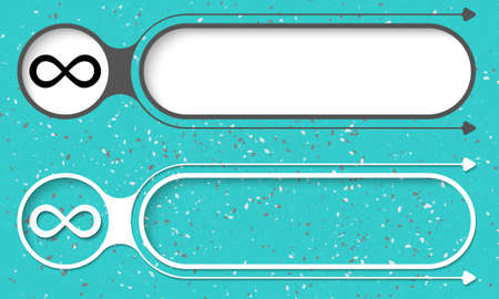 gray strip backdrop: Two abstract buttons with arrows and infinity symbol Illustration