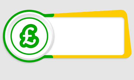 pound sterling: Vector abstract button for your text and pound sterling symbol