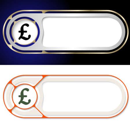 pound sterling: Dos botones abstracto para el símbolo de texto y la libra esterlina Vectores