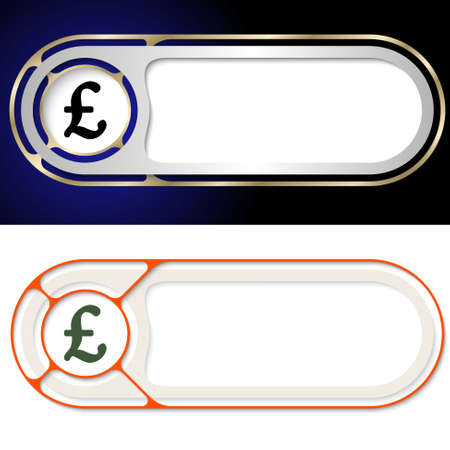 sterling: Two abstract buttons for your text and pound sterling symbol Illustration