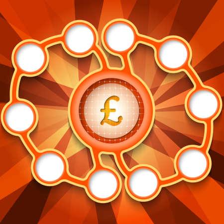 pound sterling: Cajas circulares abstractas Once para el texto y la libra esterlina símbolo Vectores