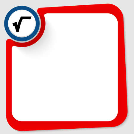 square root: Blue circle with square root and red frame for your text Illustration